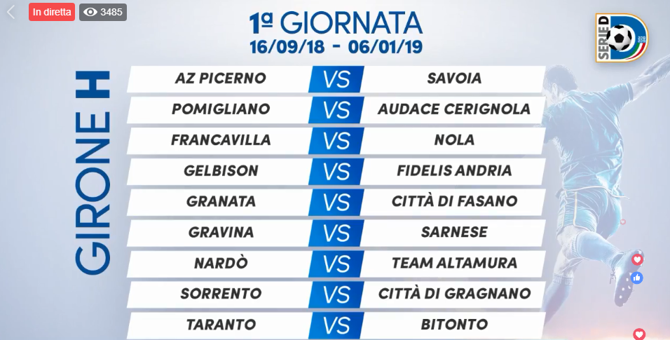 Calendario Serie D Girone H.Serie D 2018 19 Ecco Il Calendario Completo Del Girone H