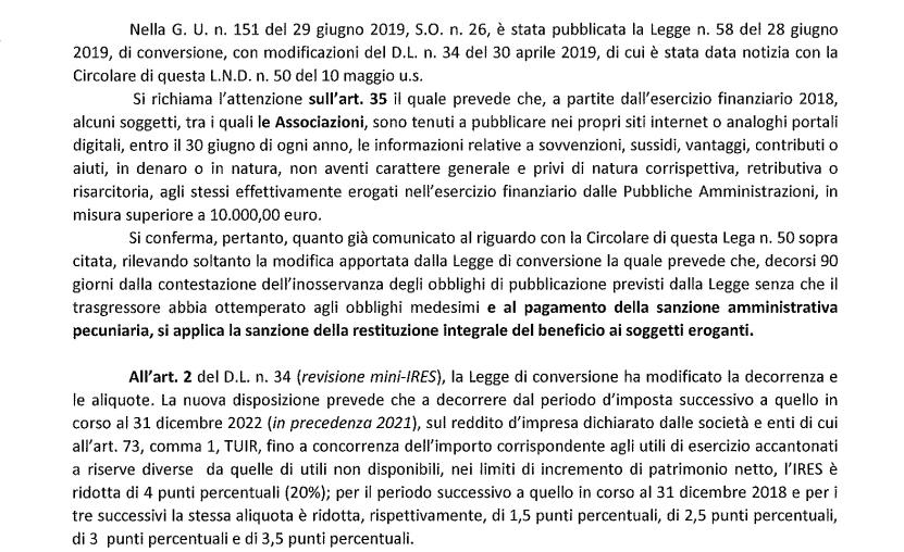 Centro Studi Tributari LND, Decreto crescita 1