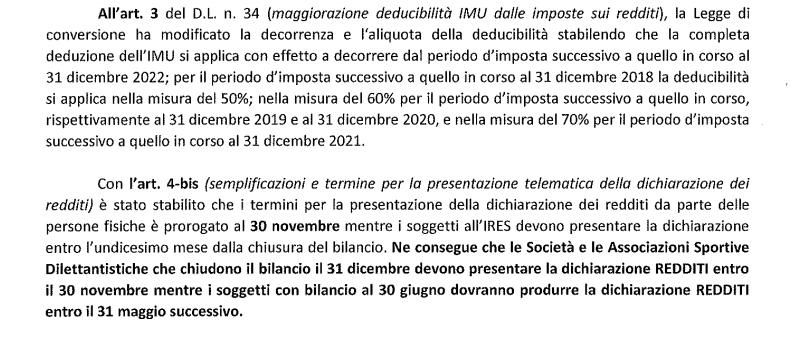 Centro Studi Tributari LND, Decreto crescita 2
