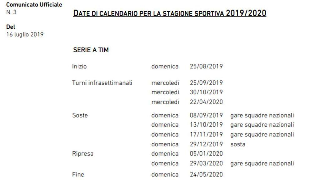 Calendario Tim Cup.Serie A E Tim Cup 2019 20 Ecco Tutte Le Date Della Nuova