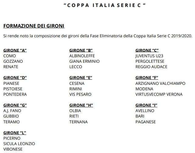 Coppa Italia 2020 Calendario.Coppa Italia Serie C Ecco Tutti I Gironi Della Competizione