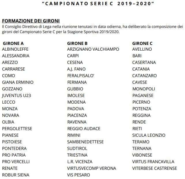 Calendario Lega Pro Girone C 2020.Serie C Ecco I 3 Gironi Per La Stagione 2019 20 Manca Una
