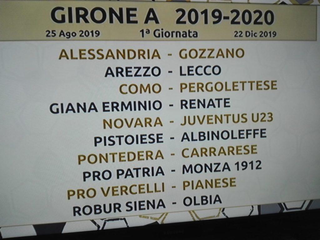 La 1° giornata del Girone A di Serie C