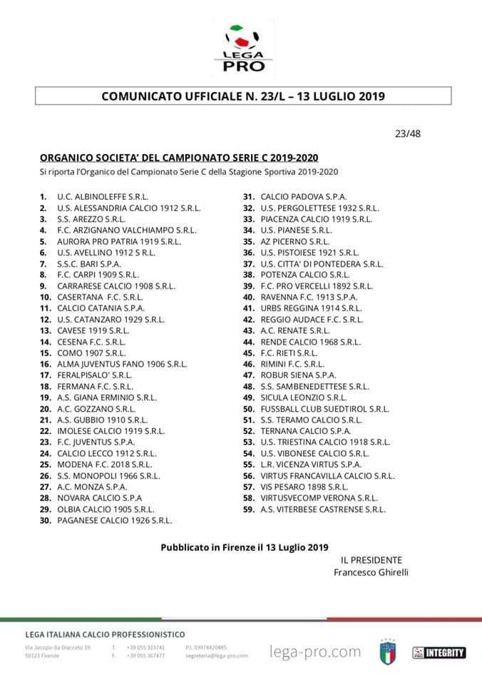 Calendario E Classifica Serie C Girone C.Serie C Ecco Le 59 Squadre Su 60 Ufficialmente Iscritte