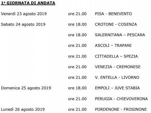 1° Giornata Serie B 2019-20