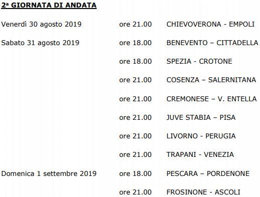2° Giornata Serie B 2019-20