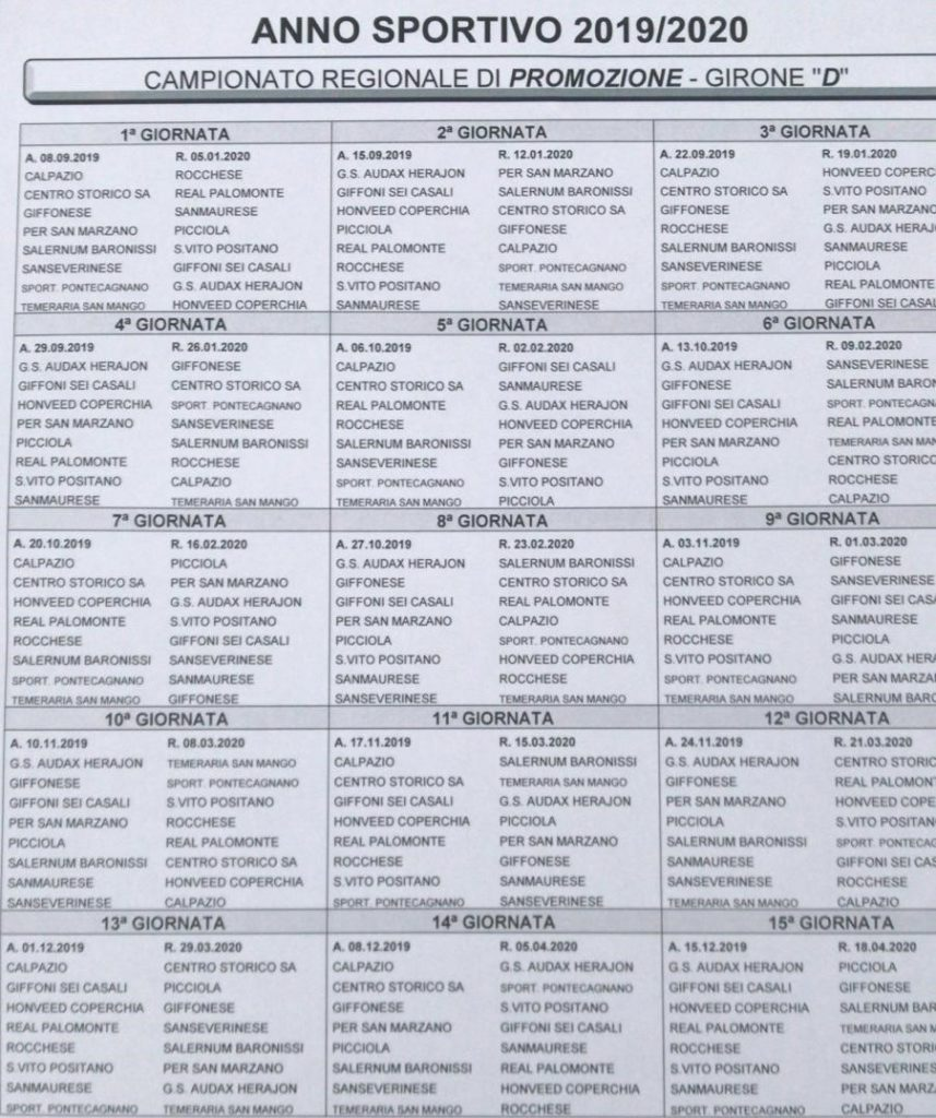 Calendario Promozione Girone A.Promozione Campania Ecco I Calendari Completi Dei 4 Gironi