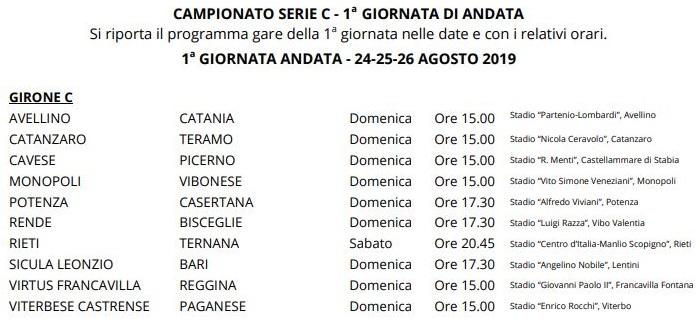 Orari prima giornata Serie C girone C