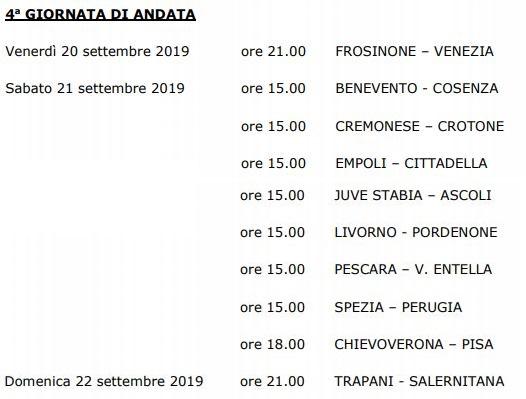 Quarta giornata Serie B 19-20