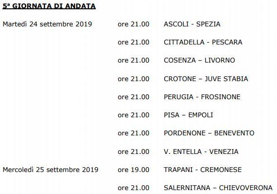 Quinta giornata Serie B 19-20