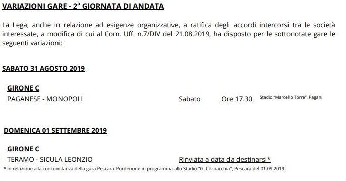 Serie C girone C variazioni seconda giornata