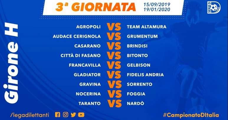 Calendario Serie A Seconda Giornata.Calendario Serie D Girone H 2019 20 Ecco Il Calendario Completo