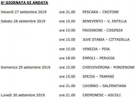 Sesta giornata Serie B 19-20