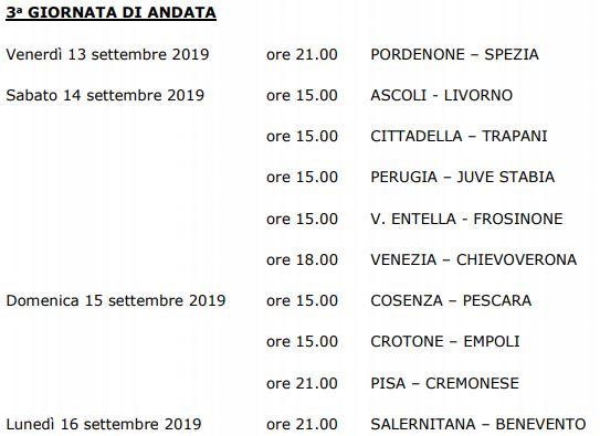 Terza giornata Serie B 19-20