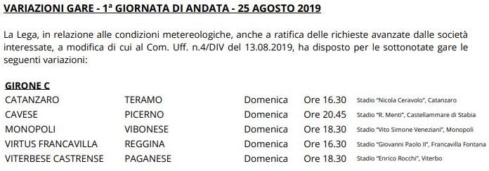 Variazioni Prima Giornata Serie C girone C