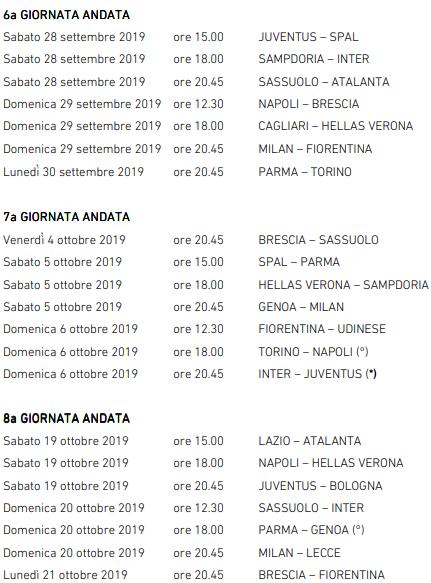 Calendario Anticipi E Posticipi Serie A.Serie A C E La Sosta Ecco Anticipi E Posticipi Fino Alla