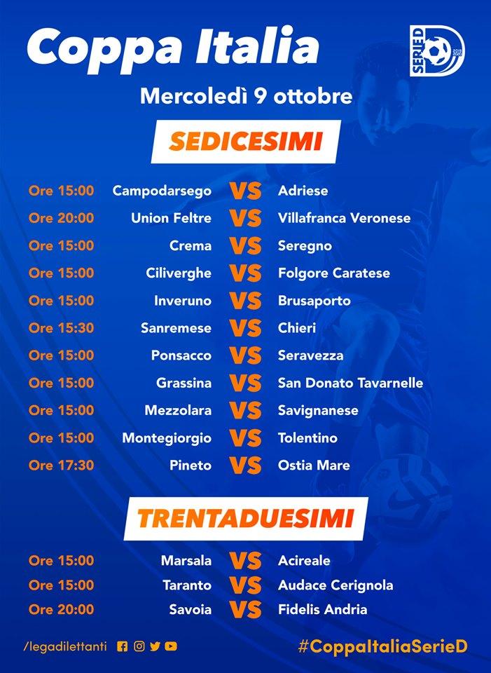 Programma Coppa Italia Serie D mercoledì 9 ottobre 2019
