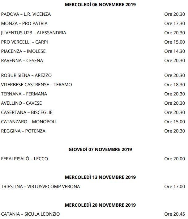 Secondo Turno Coppa Italia Serie C 19-20